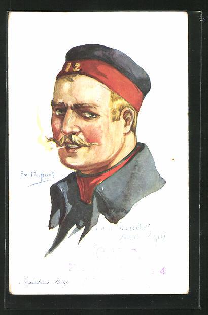 Künstler-AK Em. Dupuis: Soldat in Uniform mit Zigarette