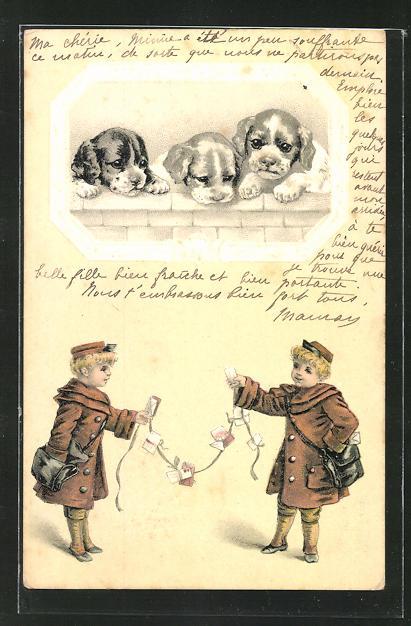 Präge-AK Pagen und Hundewelpen