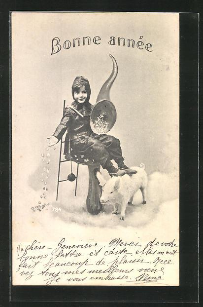 AK Schornsteinfeger mit Füllhorn und Schwein