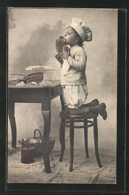 AK Kleiner Bäcker beim Naschen