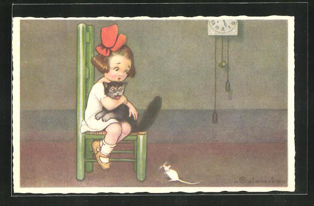Künstler-AK E. Colombo: Mädchen und Katze fürchten sich vor weisser Maus