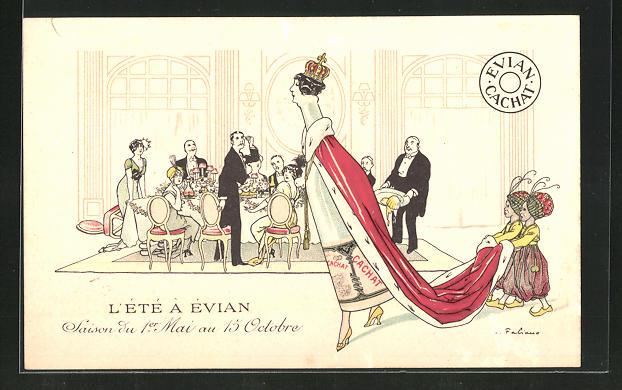 Künstler-AK Fabien Fabiano: L`Été à Évian, Reklame für Evian-Mineralwasser, Evian-Flasche als Königin