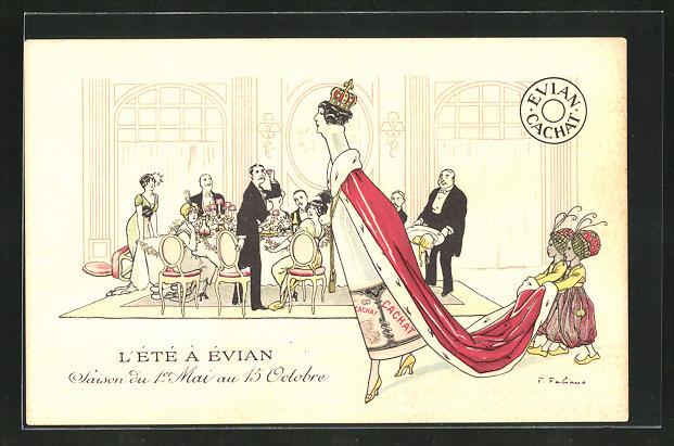 Künstler-AK Fabien Fabiano: L`Été à Évian, Reklame für Evian-Mineralwasser, Evian-Flasche als Königin mit Schleppe