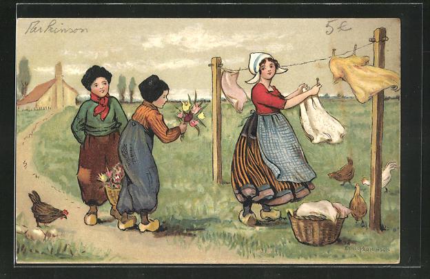 Künstler-AK Ethel Parkinson: Kleiner Holländer mit Tulpen für die Herzdame