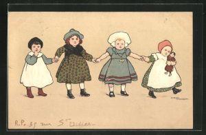 Künstler-AK Ethel Parkinson: Niedliche Mädchen halten sich an den Händen