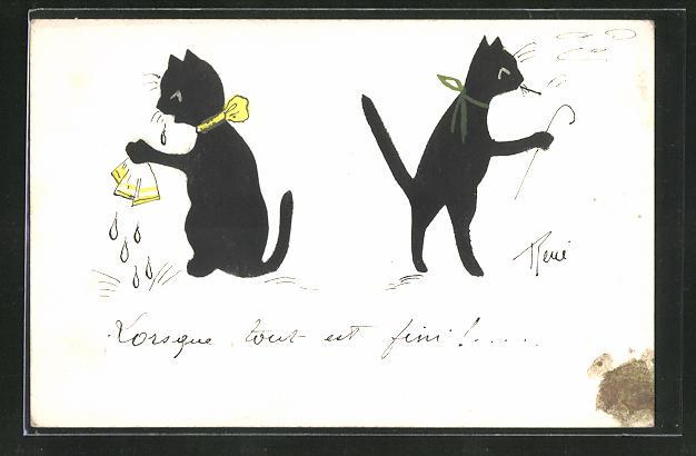 Künstler-AK Handgemalt: Kater verlässt seine Katze, diese weint bitterlich