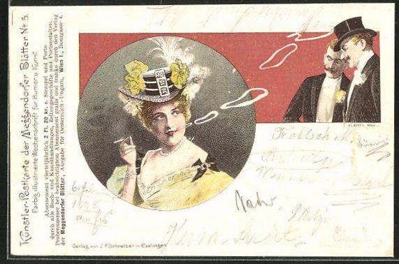 Künstler-AK Meggendorfer Blätter Nr. 5: Zwei Herren im Frack bewundern eine rauchende Dame