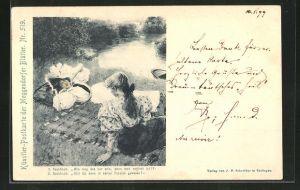 Künstler-AK Meggendorfer Blätter Nr. 519: Zwei Backfische reden über die Liebe