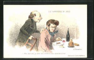 Künstler-AK sign. H. Daumier: Mon cher ami..., Männer beim Essen