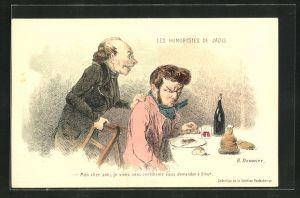 Künstler-AK sign. H. Daumier: Mon cher ami..., Männer an der Tafel