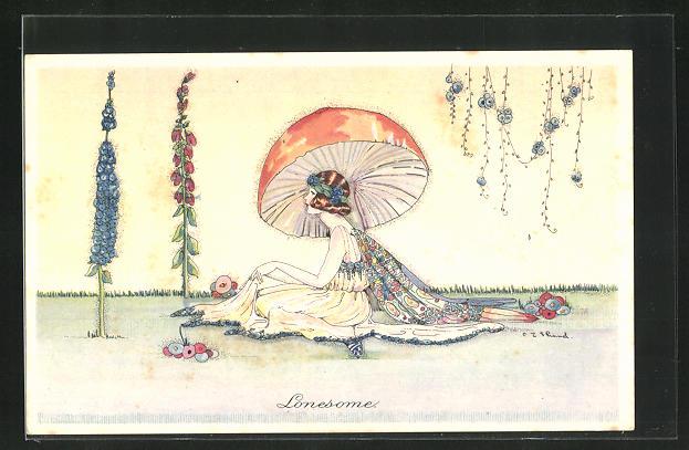 Künstler-AK sign. Shand: Dame im exotischen Kleid unter einem Pilz, Jugendstil