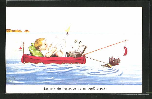 Künstler-AK John Wills: Junge mit Hund und Wurst am Stock in einem Boot
