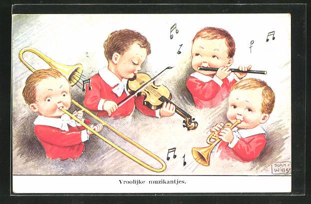 Künstler-AK John Wills: Vier kleine Jungen mit Instrumenten
