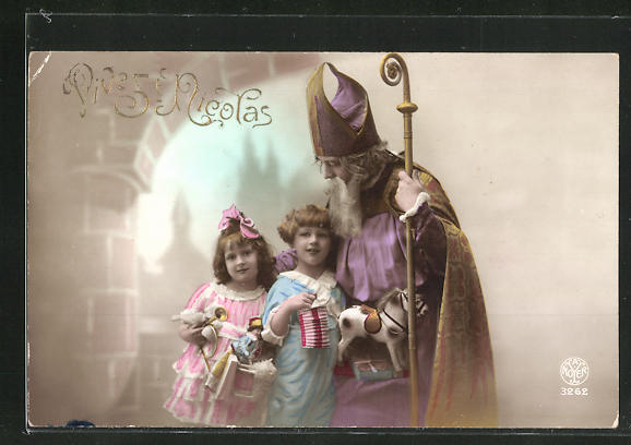 Präge-AK Nikolaus mit Kindern