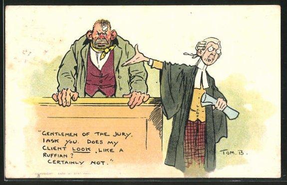 Künstler-AK Tom Browne: Richter und Angeklagter