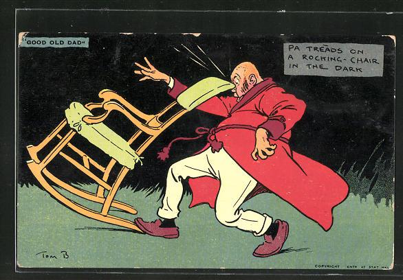 Künstler-AK Tom Browne: Mann stolpert über einen Schaukelstuhl