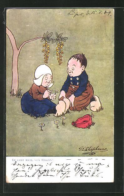 Künstler-AK George Edward Shepheard: Er liebt mich, von Herzen!, kleines Paar