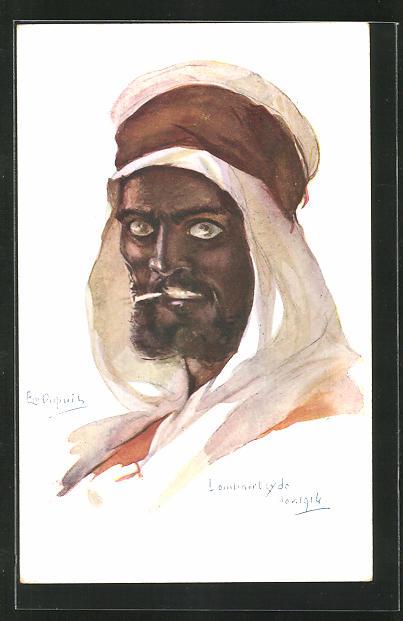 Künstler-AK Em. Dupuis: Arabischer Mann mit Zigarette