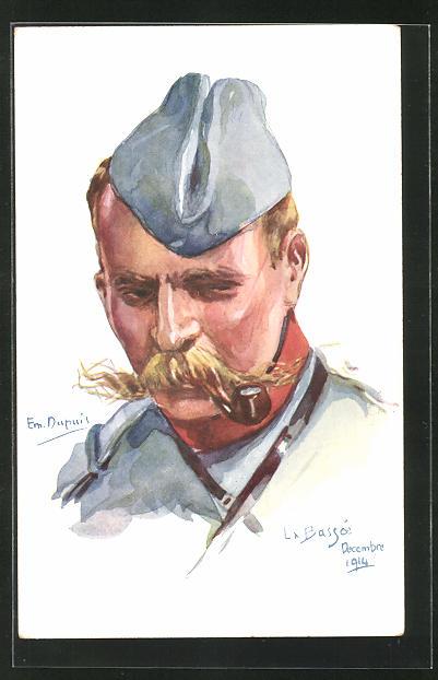 Künstler-AK Em. Dupuis: Soldat in Uniform mit Käppi und Pfeife