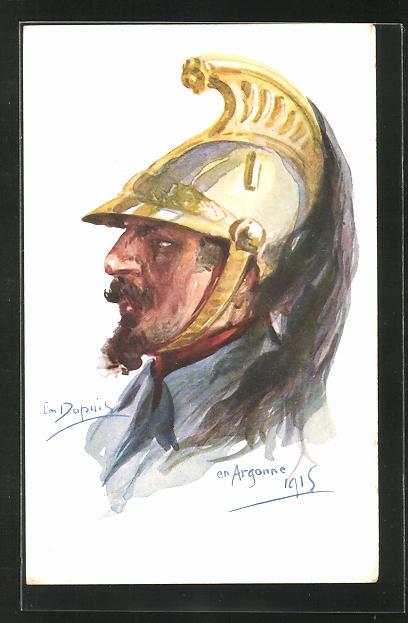 Künstler-AK Em. Dupuis: Argonne, Krieger mit Helm 1915