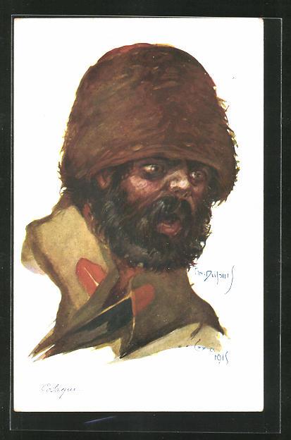 Künstler-AK Em. Dupuis: Kosake mit Fellmütze