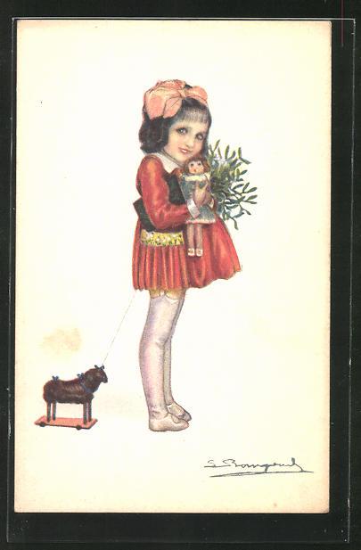 Künstler-AK Sergio Bompard: Mädchen mit Puppe und Spielzeugpferd