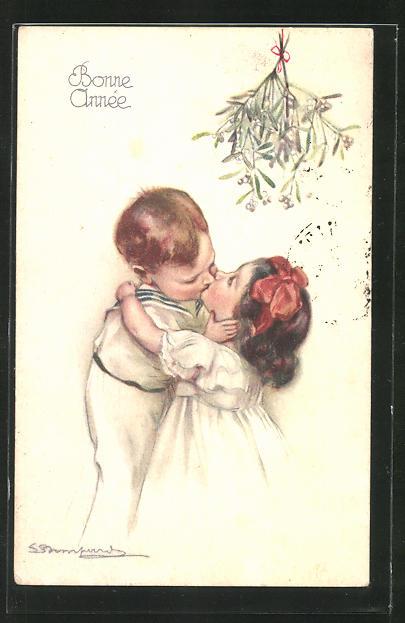 Künstler-AK Sergio Bompard: Junge und Mädchen küssen sich unter einem Mistelzweig, Neujahrsgruss