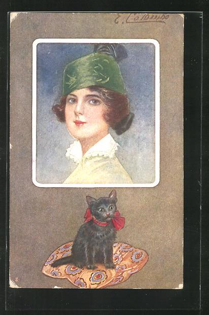 Künstler-AK E. Colombo: Frau mit Hut und Katze