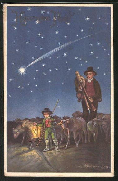 Präge-Künstler-AK E. Colombo: Hirte und kleiner Junge mit Laterne und Herde, Weihnachtsgruss