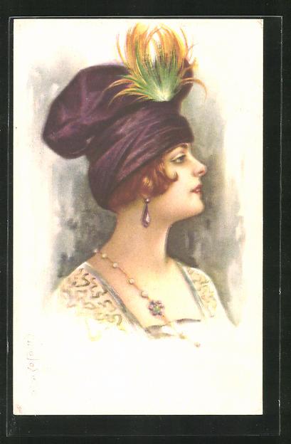 Künstler-AK E. Colombo: Frau mit Hut und Ohrringen