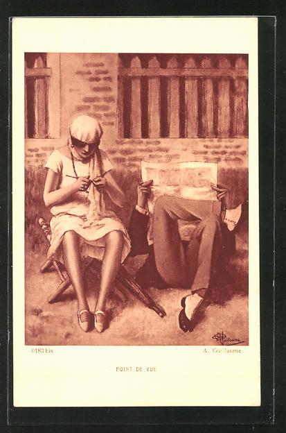 Künstler-AK Albert Guillaume: Mann mit Zeitung und Frau