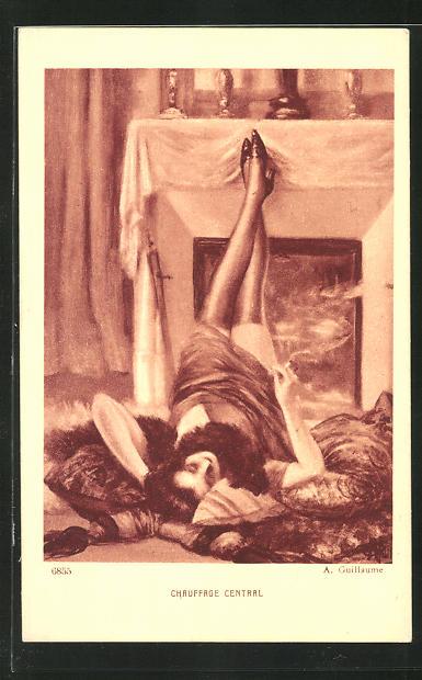 Künstler-AK Albert Guillaume: Liegende Frau am Kamin
