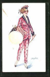 Künstler-AK Xavier Sager: Frau im bunten Anzug mit Amerikahut und Trommel