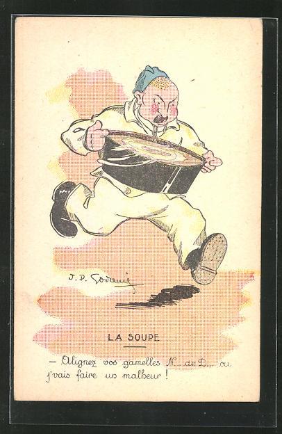 Künstler-AK sign. Godrenil: La Soupe, Mann mit einer Suppenschüssel