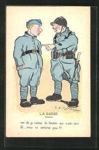 Künstler-AK sign. Godrenil: La Garde, zwei Soldaten in Uniform
