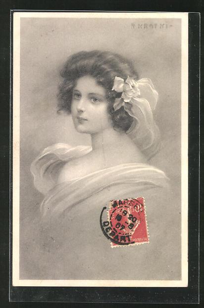 Künstler-AK R. Kratky: Frau mit Haarschmuck