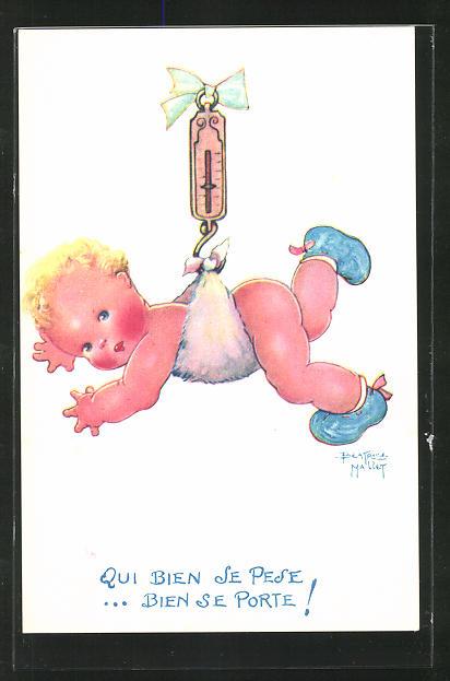 Künstler-AK Beatrice Mallet: Baby am Haken