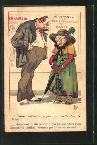 Künstler-AK Jean-Marie Michel Liebeaux: Mann und alte Frau mit Hut und Schirm