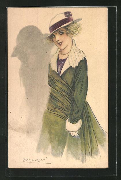 Künstler-AK Mauzan: Frau mit Hut im grünen Kleid