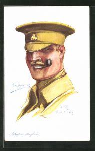 Künstler-AK Em. Dupuis: Englischer Infanterie-Soldat in Uniform mit Pfeife
