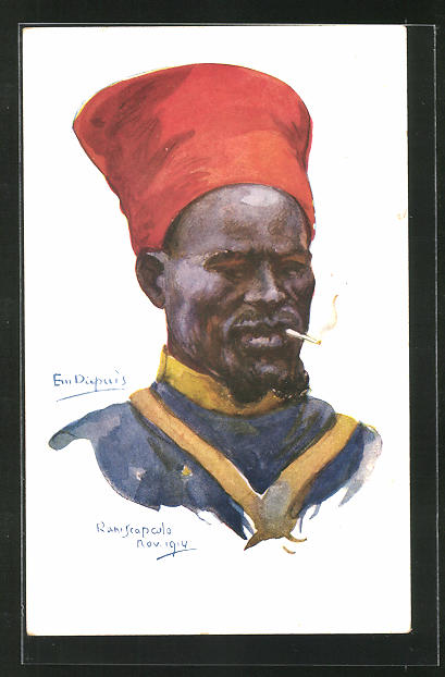 Künstler-AK Em. Dupuis: Raniscapculo, afrikanischer Soldat mit Zigarette