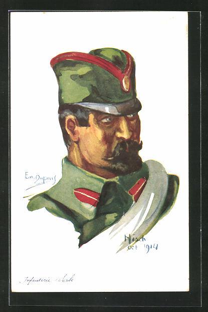 Künstler-AK Em. Dupuis: Infanterie Serbe, Nisch