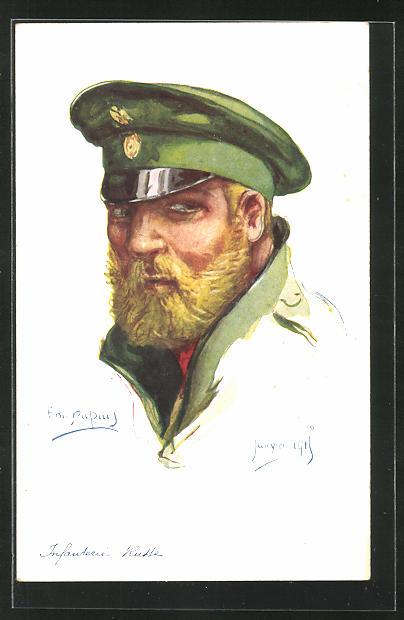 Künstler-AK Em. Dupuis: Infanterie Russe, Infanterie-Soldat mit Schirmmütze