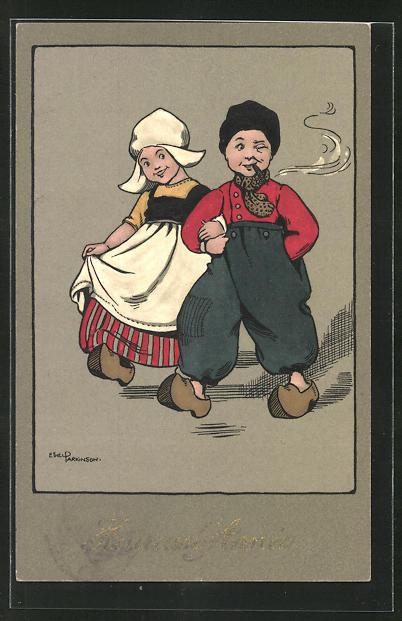 Künstler-AK Ethel Parkinson: Bauer mit Zigarre und seiner Frau, Neujahrsgruss