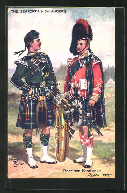 Künstler-AK Harry Payne: The Seaforth Highlanders, Piper and Bandsman