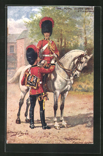 Künstler-AK Harry Payne: The Royal Scots Greys, Trumpeters