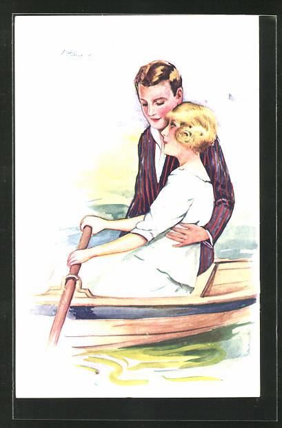 Künstler-AK Suzanne Meunier: Mann umarmt Frau im Ruderboot