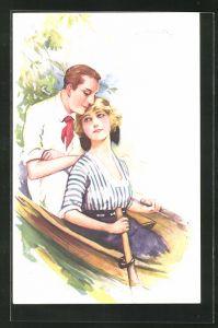Künstler-AK Suzanne Meunier: ein Liebespaar in einem Ruderboot