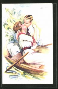 Künstler-AK Suzanne Meunier: Mann küsst Frau im Ruderboot