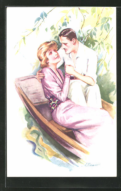 Künstler-AK Suzanne Meunier: Mann mit Frau in einem Ruderboot
